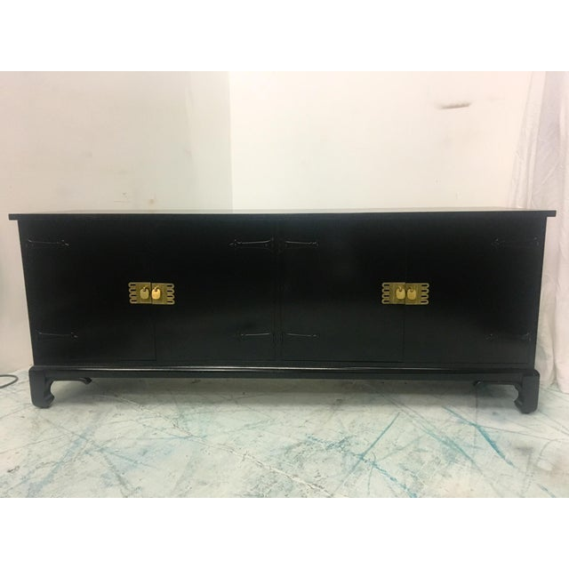 Asian Style Black Lacquered Credenza - Image 7 of 7
