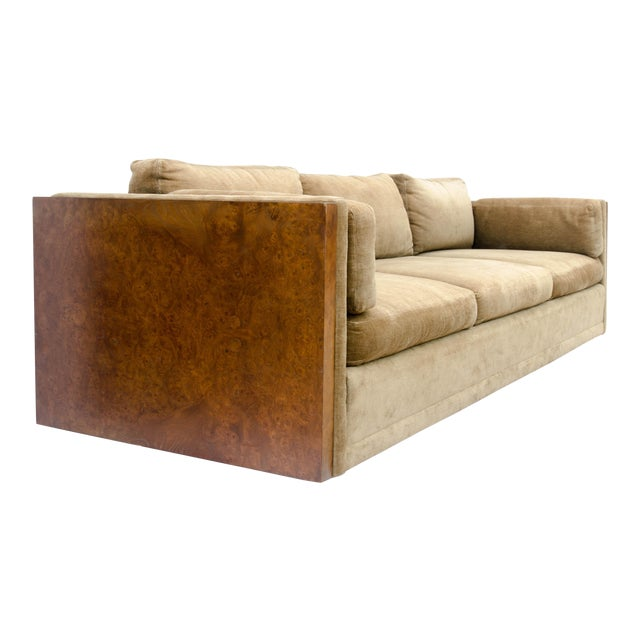 Milo Baughman Style Burl Wood Sofa For Sale