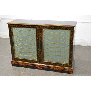 Maitland Smith Regency Style Paint Decorated Console Cabinet Preview