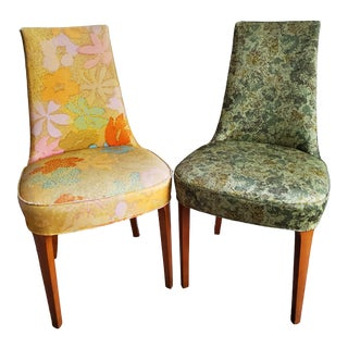 Vintage Retro Wooden Upholstered Armless Accent Chairs- a Pair For Sale