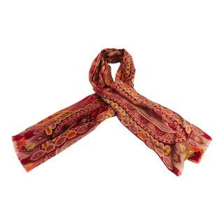 Etro Women's Paisley Silk Wool Long Scarf For Sale