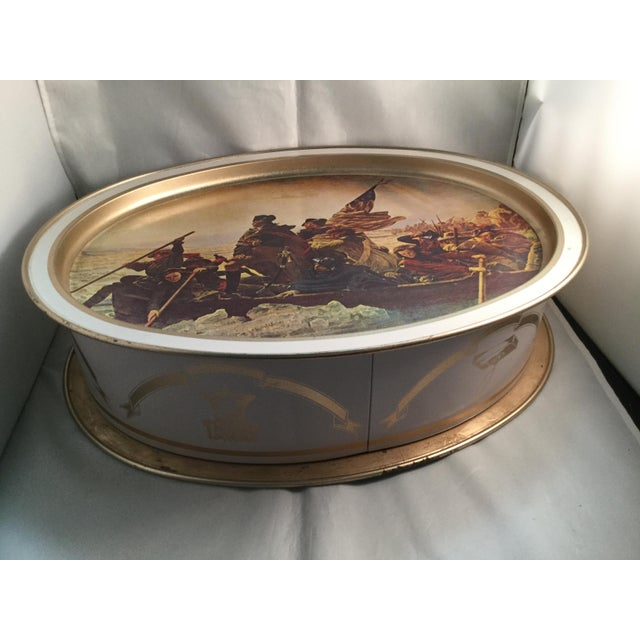 Washington Crossing the Delaware Decorative Biscuit Container For Sale - Image 4 of 11