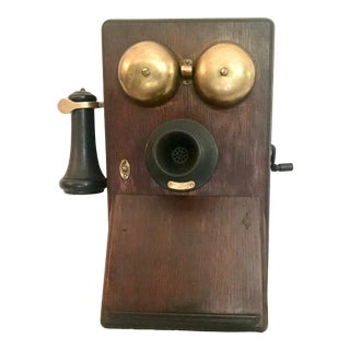 """Antique 1900s Oak """"Western Electric"""" Crank Wall Mounted Phone For Sale"""