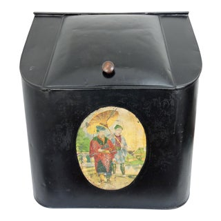 Collectable Antique English 'Store Size' Chinoiserie Black Tin Tea Caddy / Storage Box For Sale