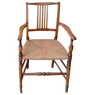 French 19th Century Country Armchair With Rush Seat For Sale