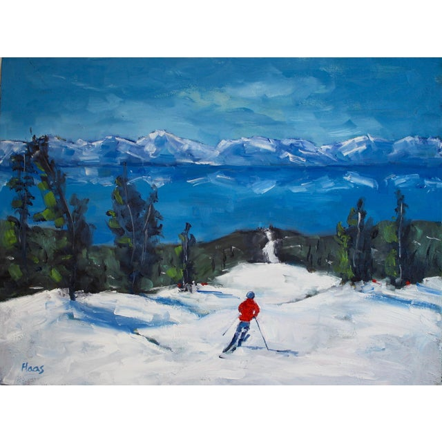 French Country Diamond Peak Run Original Oil Painting Landscape For Sale - Image 3 of 12