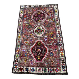 """1950's Vintage Persian Gabbeh Rug 4'5"""" X 7'2"""" For Sale"""