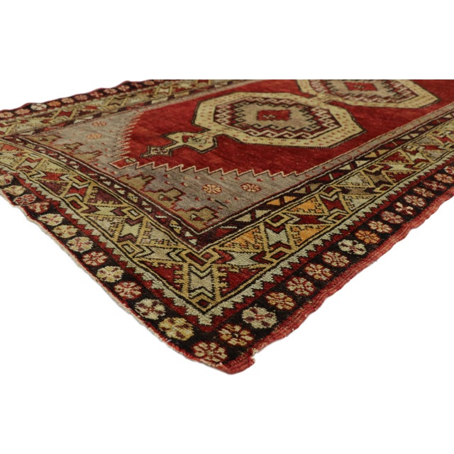 Ruby Red Vintage Mid-Century Turkish Oushak Runner Rug - 3′9″ × 10′8″ For Sale - Image 8 of 11