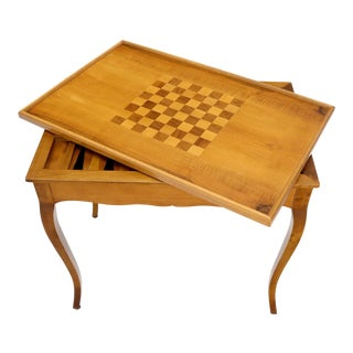 Flip Top Italian Chess Backgammon Game Table with Drawers For Sale