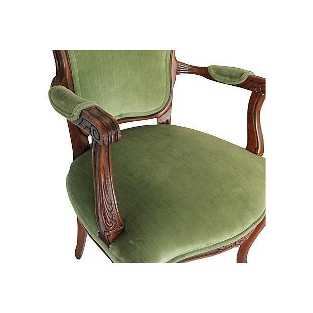 Upholstered Green Fauteuils - Pair - Image 9 of 10