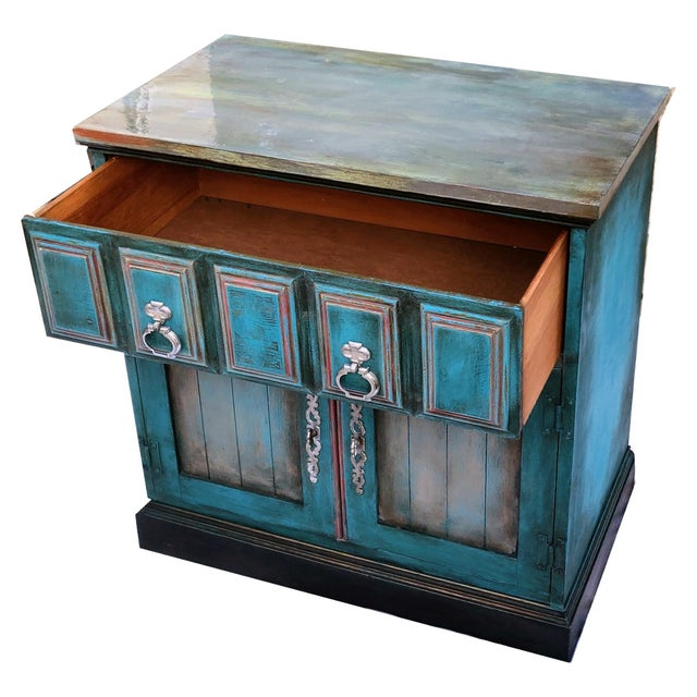 Patrick Briggs 'Blue' 2021 Refinished Wooden Nightstand Storage Credenza For Sale - Image 4 of 9