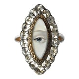 Image of Georgian Lover's Eye Navette Diamond Paste Locket Ring With Custom Painting For Sale