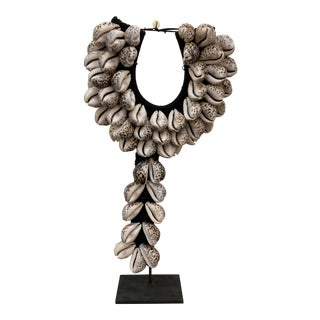 Natural Cowry Shell Tribal Necklace on Metal Stand For Sale