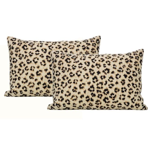 "12"" X 18"" Leopard Linen Ebony Lumbar Pillows - a Pair For Sale - Image 6 of 6"