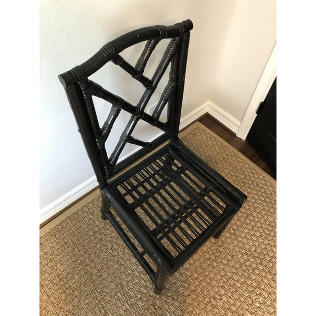 1980s Regency Black Bamboo Side Chair For Sale - Image 9 of 11