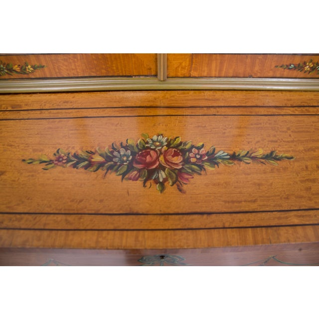 Glass English Adams Style Painted Satinwood Secretary For Sale - Image 7 of 10