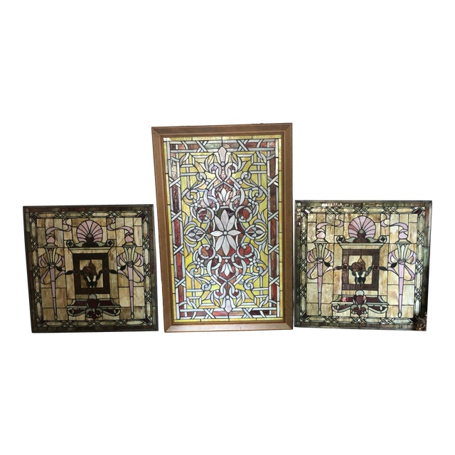 Stained Glass Panels - Set of 3 For Sale