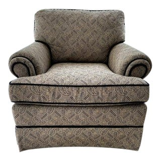 C.R. Laine Black and Beige Upholstered Arm Chair For Sale