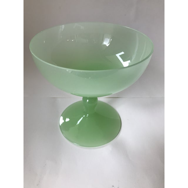 Antique 1930s Portieux Vallerysthal style French green opaline milk glass goblets / sherbet / champagne glass. Absolutely...