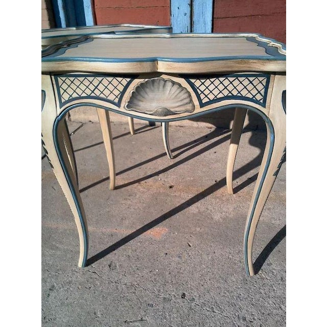 Tea Tables With French Style Paint Cabriole Legs and Candle Slides - a Pair For Sale - Image 10 of 11