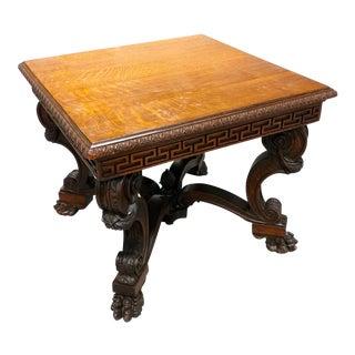 Antique Lion Foot Oak Center Table For Sale