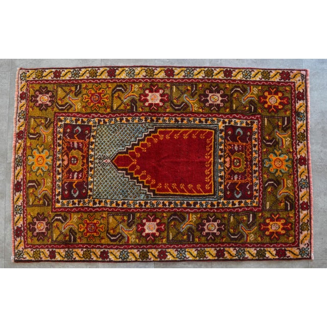 """Antique Turkish Rug Hand Knotted Prayer Rug - 3'4"""" X 5' For Sale - Image 4 of 12"""