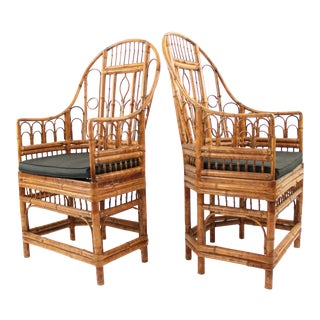1960s Vintage Brighton Pavilion Style High Back Chairs- A Pair For Sale