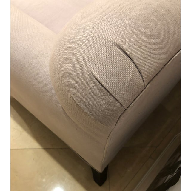2010s 1940's Vintage Style Linen Button Tufted Sofa For Sale - Image 5 of 10
