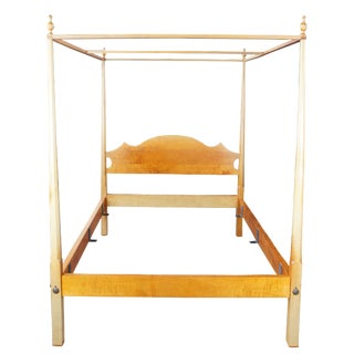 1980s Shaker Tiger Curly Maple Four Poster Queen Bedframe For Sale