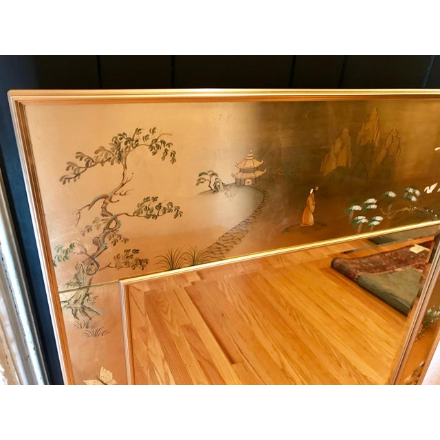 Asian LaBarge Chinoiserie Style Eglomise Mirror For Sale - Image 3 of 12