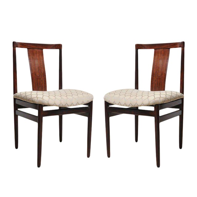 Rosewood Mid-Century Modern Side Chairs With Upholstered Seat - a Pair For Sale