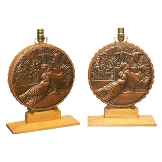1940s Repousse Lamps - A Pair For Sale