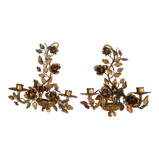 Vintage Italian Gilt Metal Floral Wall Sconces - a Pair For Sale