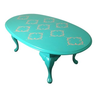 1960s Vintage Teal Coffee Table For Sale