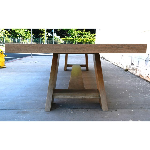Brown Rustic Banquet Table Made From Rift Sawn White Oak For Sale - Image 8 of 13