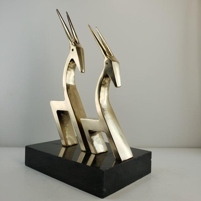 Vintage Brass 2 Gazelle Sculpture Mid Century Modern Table Art For Sale - Image 4 of 12