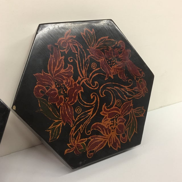 Vintage Black Lacquer Hexagon Box - Image 10 of 11