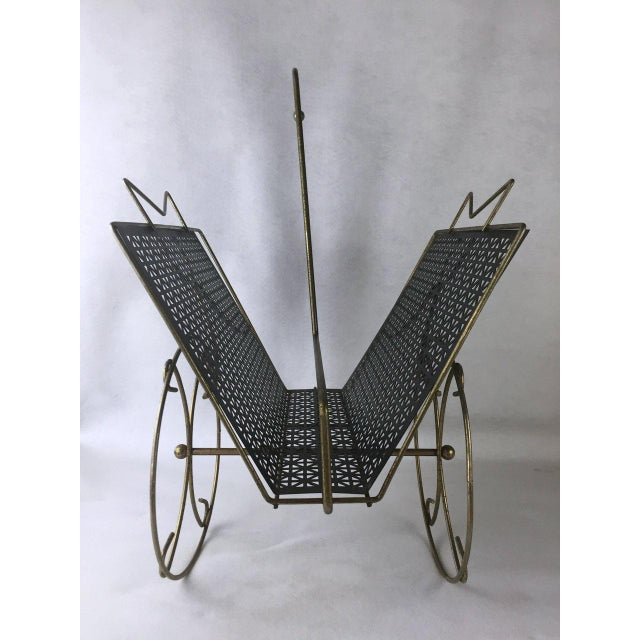 Mid-Century Rolling Magazine Rack For Sale - Image 4 of 8