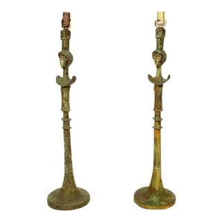Pair of Tete De Femme Table Bronze Lamps For Sale