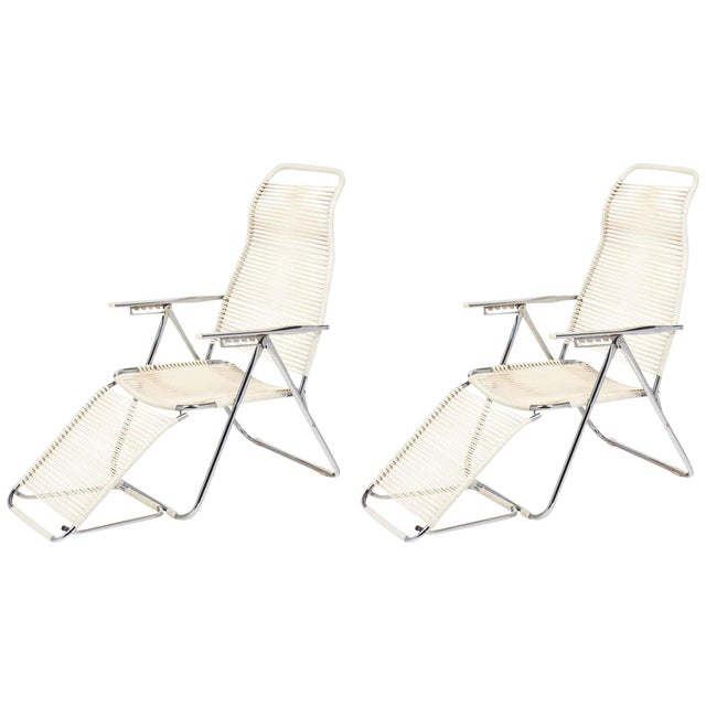 Vintage French Adjustable Chaises Lounges - A Pair For Sale