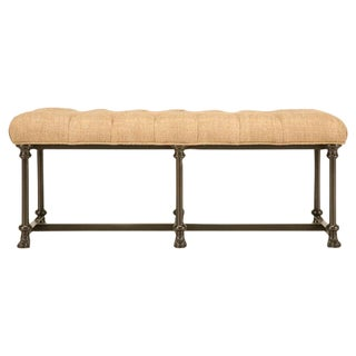 Custom Bench with Steel Frame and Tufted Seat For Sale