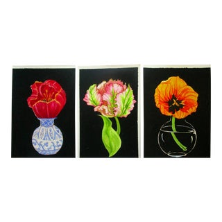 Lynne French Gallery Wall Garden Tulip Paintings - Set of 3 For Sale