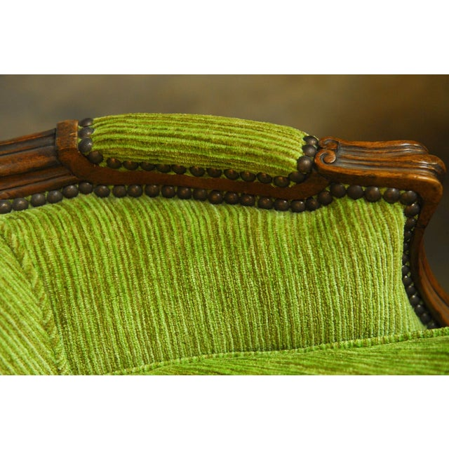 Louis XV Carved Chartreuse Velvet Bergeres - Pair - Image 6 of 8