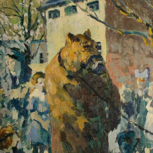 """1920s """"Performing Bear"""" Rustic European Village Scene Oil Painting by Richard Bloos For Sale - Image 4 of 11"""