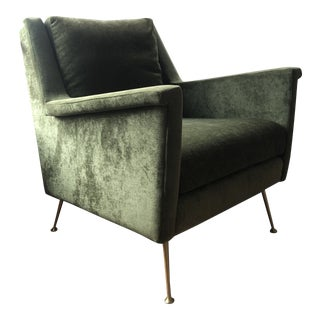 West Elm Distressed Olive Velvet Carlo Mid-Century Chair For Sale
