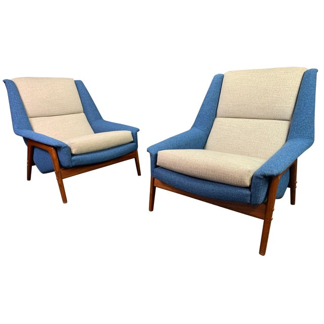 "Pair of Vintage Scandinavian Modern Teak ""Profil"" Lounge Chairs by Folke Ohlsson for Dux of Sweden. For Sale - Image 11 of 11"