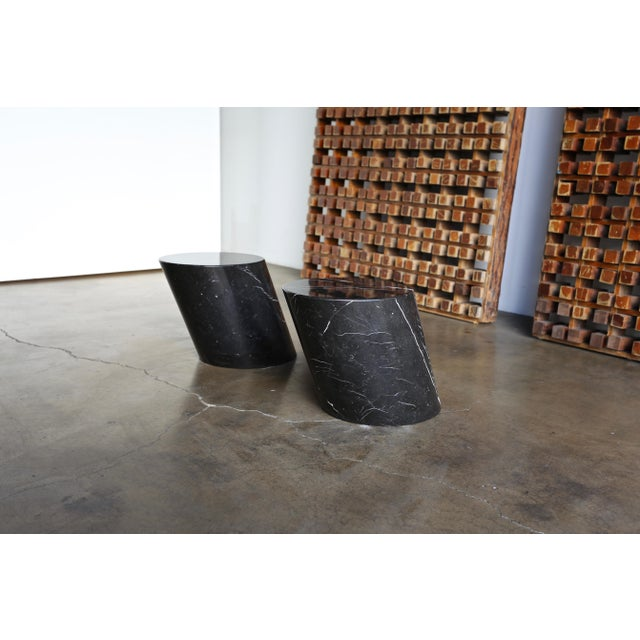 """Black marble stump table by Lucia Mercer for Knoll. Circa 1970s. The tabletop surface measures: 13.5"""" x 14.75""""."""