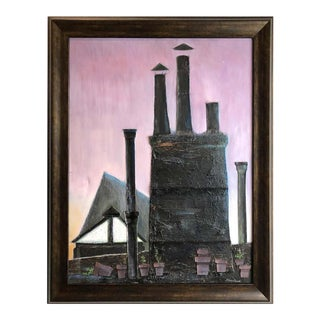 Industrial Mixed-Media Oil Painting by Robert Blanchard For Sale