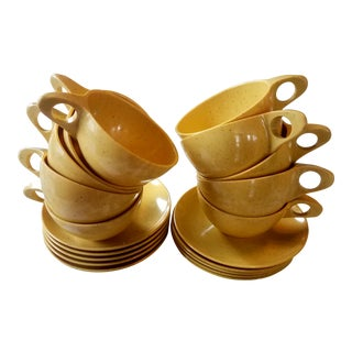 Holiday by Kenro Yellow Cups and Saucers - Set of 10 For Sale
