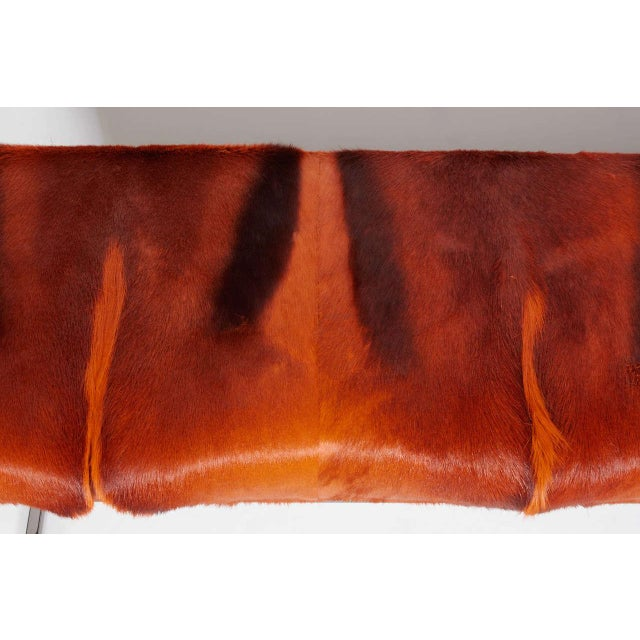 Contemporary AFRICAN SPRINGBOK FUR BENCH IN VIBRANT BURNT-ORANGE For Sale - Image 3 of 11